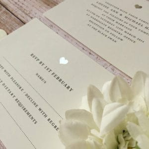 A silver heart modern wedding invitation