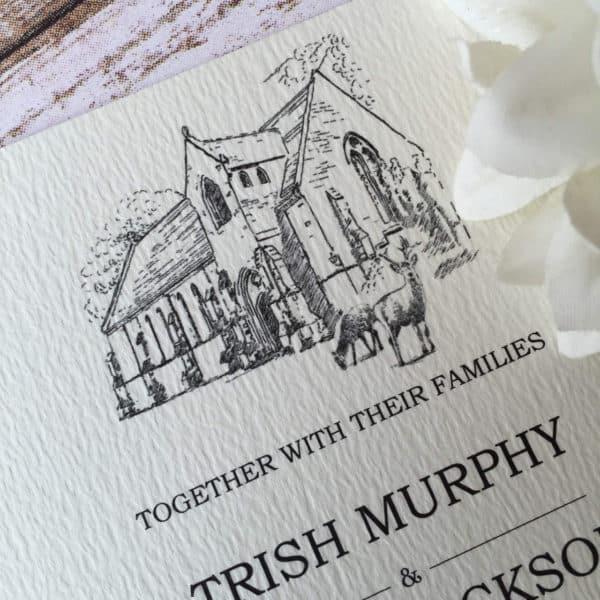 A venue illustrated wedding invitation