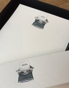 Writing paper with a Typewriter illustration