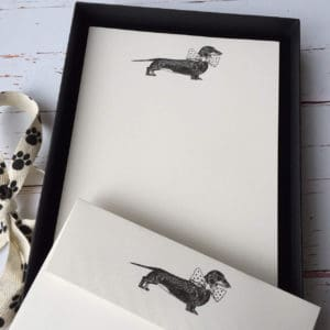 Writing paper with a Dachshund illustration