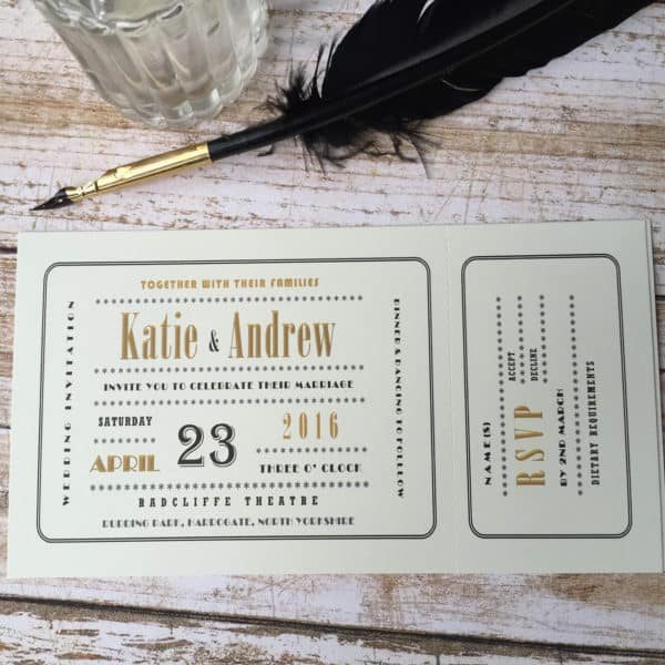 An Art Deco cinima ticket style wedding invitation