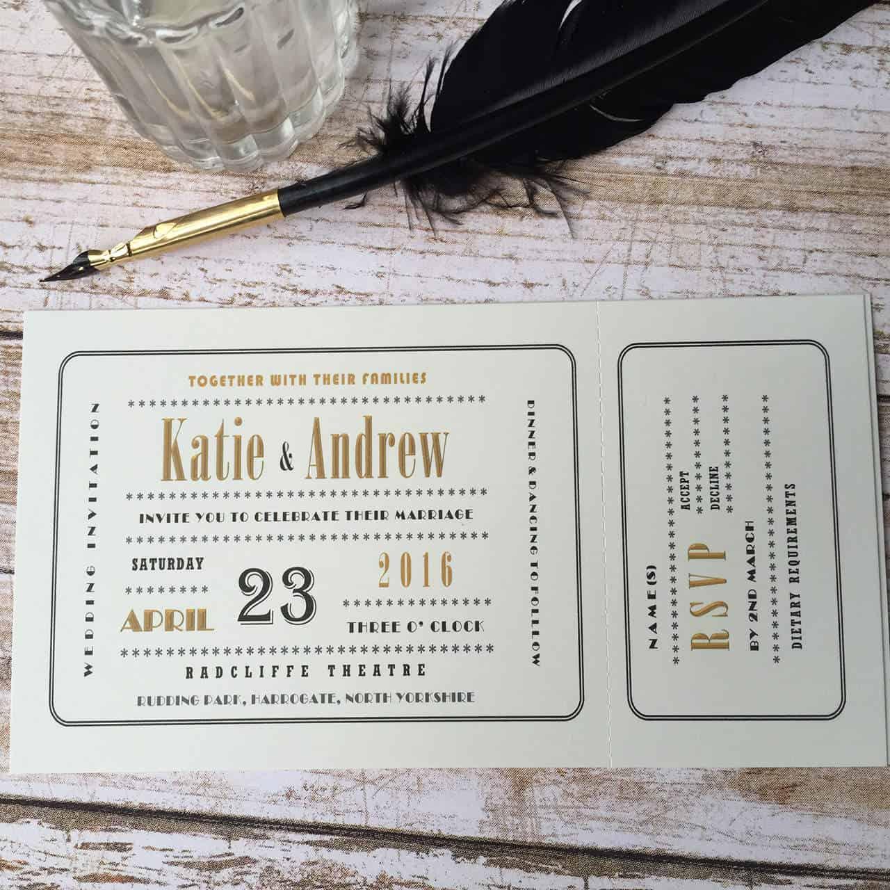 Cinema Ticket Wedding Invitations - Wagtail Designs