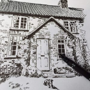 A house illustration in pen and ink