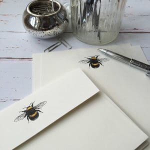 Writing paper with a Bumble Bee illustration