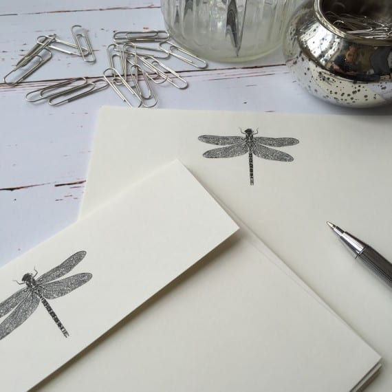 Writing paper with a Dragonfly illustration
