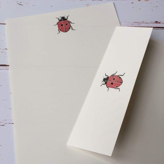 Writing paper with a Ladybird illustration