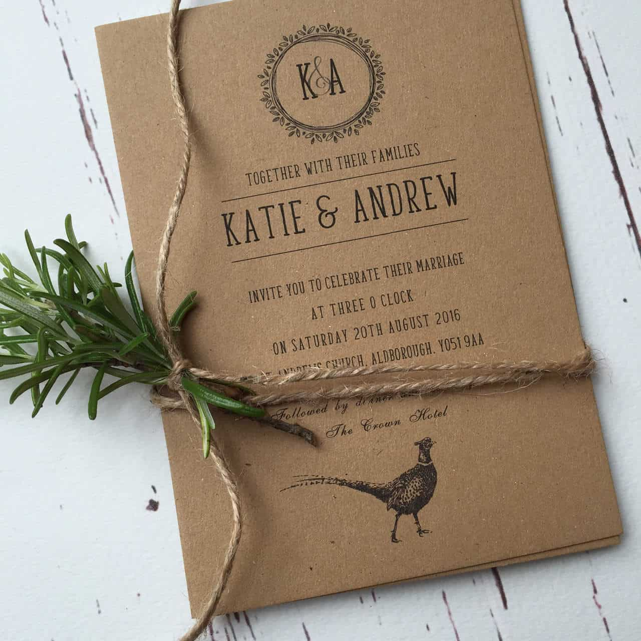 Rustic Wedding Invitations and Stationery - Wagtail Designs