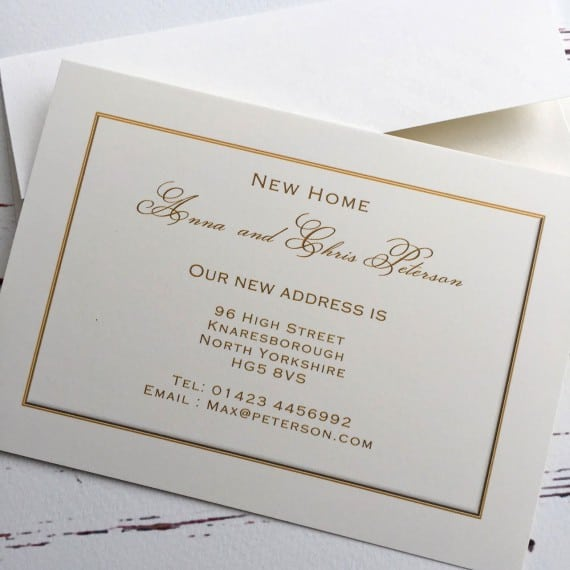 Gold effect change of address cards