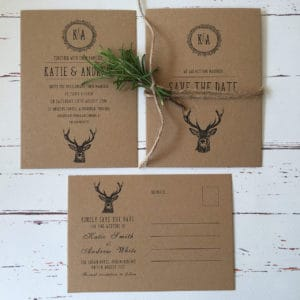 Rustic wedding invitations with choice of deer or pheasant illustration