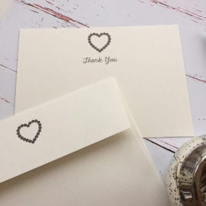 Thank you cards with a Heart illustration