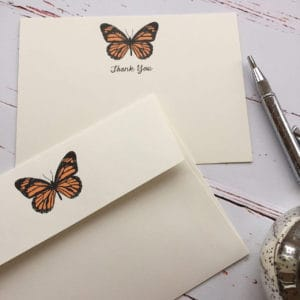 Thank you cards with an Orange Butterfly illustration