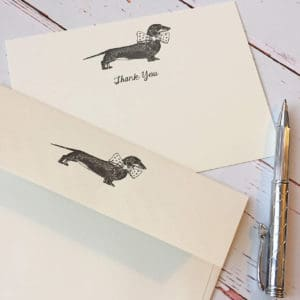 Thank you cards with a Dachshund illustration