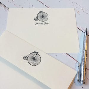 Thank you cards with a Penny Farthing illustration