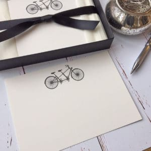 A tandem bicycle notelet in a presentation box