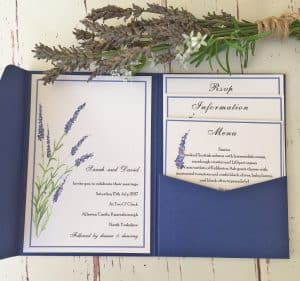 Lavender Pocket Fold Wedding Stationery