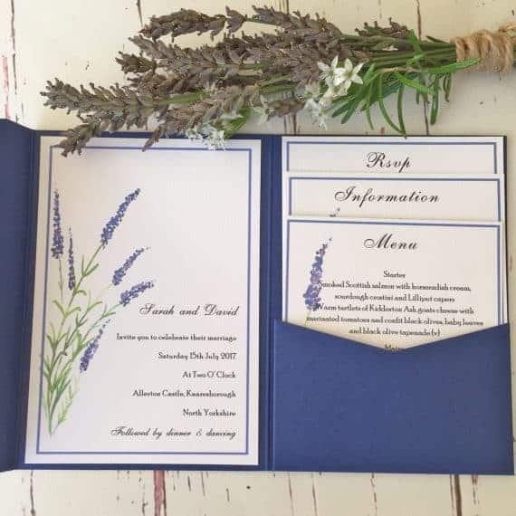 Lavender Pocket Fold Wedding Stationery