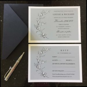 Grey Blossom Invitations