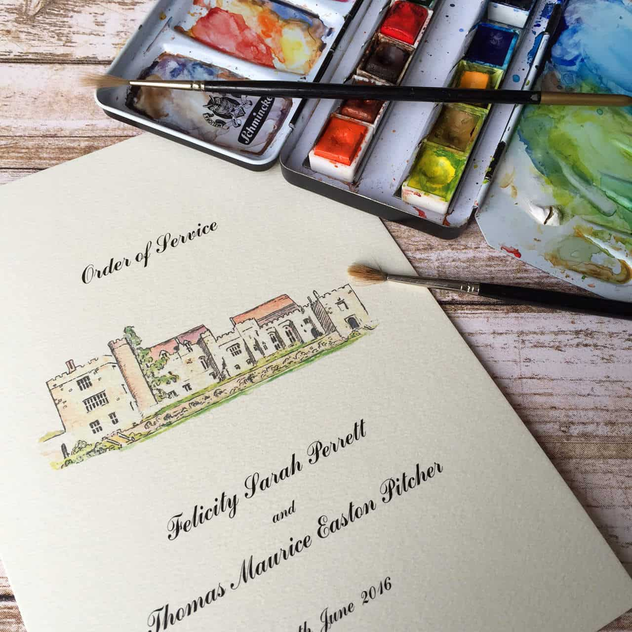 Bespoke Wedding Invitations: Illustrated Wedding Venue Invitations