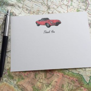 Thank you cards with an E type Jaguar illustration