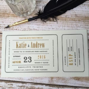 An Art Deco cinima ticket style wedding invitation
