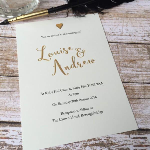 A gold effect Wedding invitation