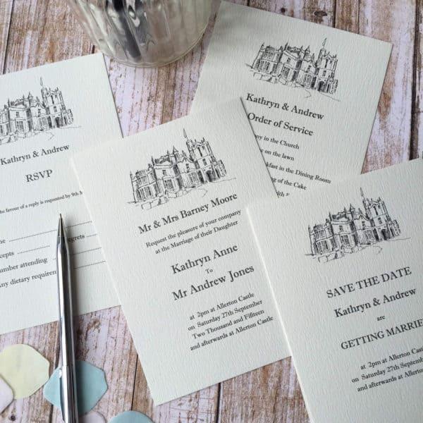 Illustrated wedding venue invitations