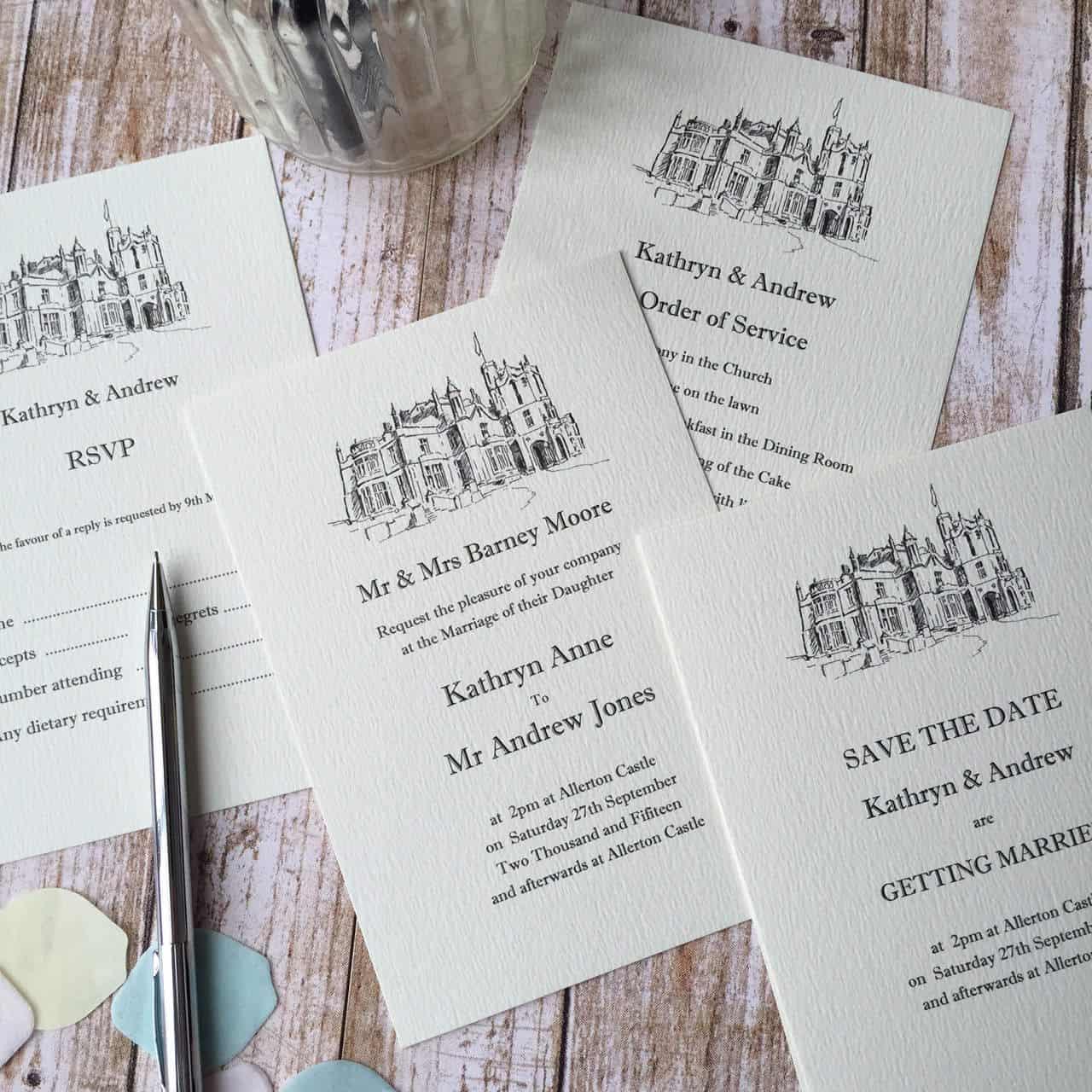 Illustrated Wedding Venue Invitations - Wagtail Designs