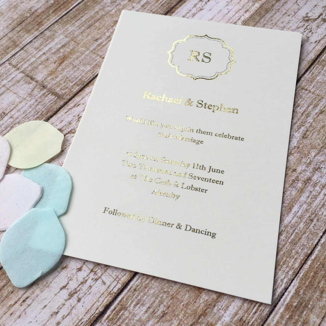 Gold Foiled Wedding Invitations - Wagtail Designs