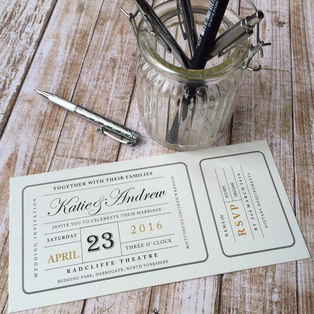 Perfect Wedding Invitations Tickets Festooning - Invitations Design ...