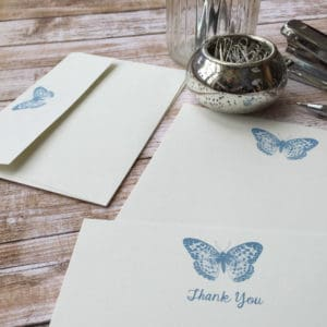 Thank you Cards with a Butterfly illustration
