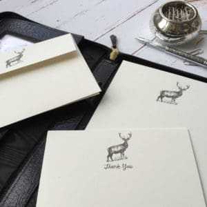 Deer/Stag writing case with thank you cards