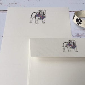 Writing paper with a Bulldog illustration