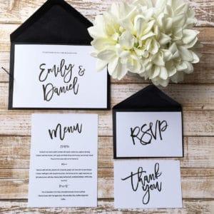 A modern style wedding invitation