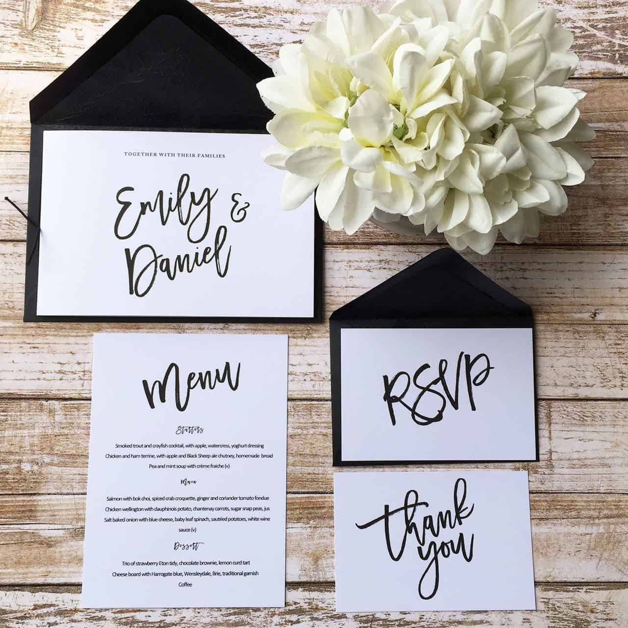 Chic Wedding Invitations and Stationery Deposit |