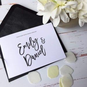 Black and white freestyle wedding invitations