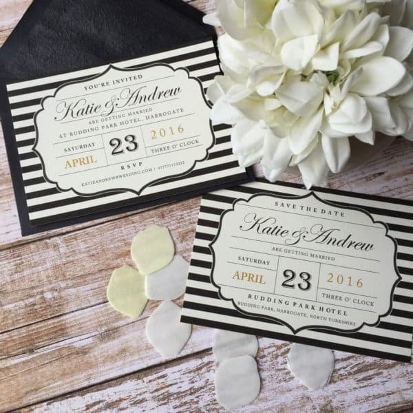 Black and white striped postcard wedding invitations