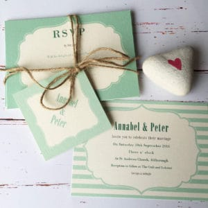 A modern striped style wedding invitation