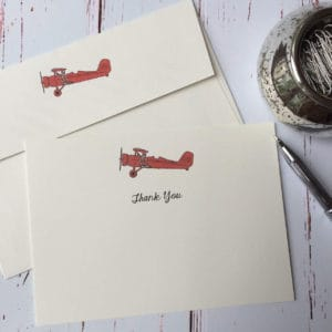 Thank you cards with a Boeing Stearman illustration