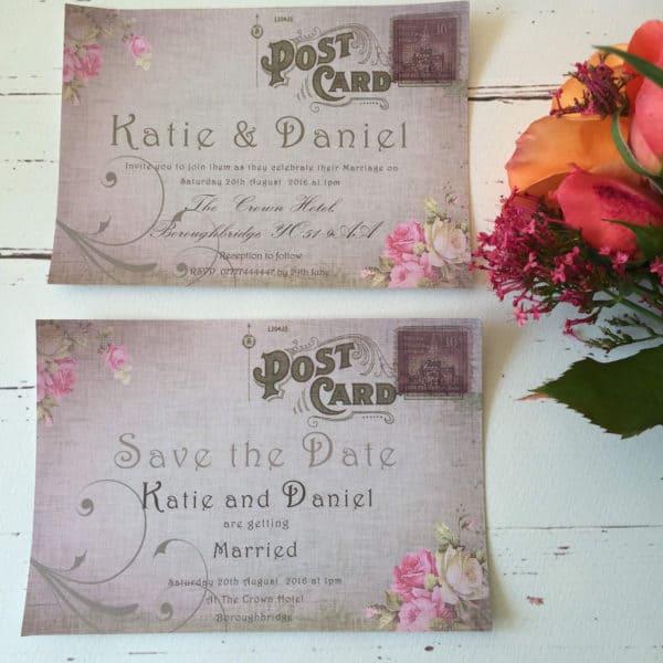 A postcard style wedding invitation