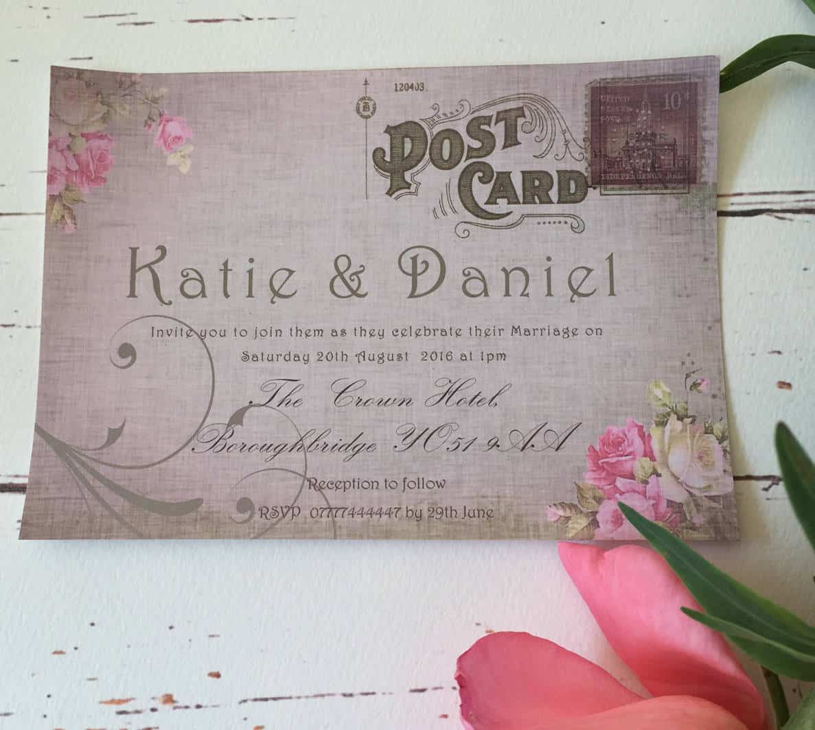 Postcard Style Wedding Invitations