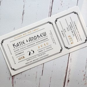 A Gatsby font cinema ticket style wedding invitation