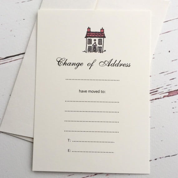 blank change of address cards with a red roof illustration