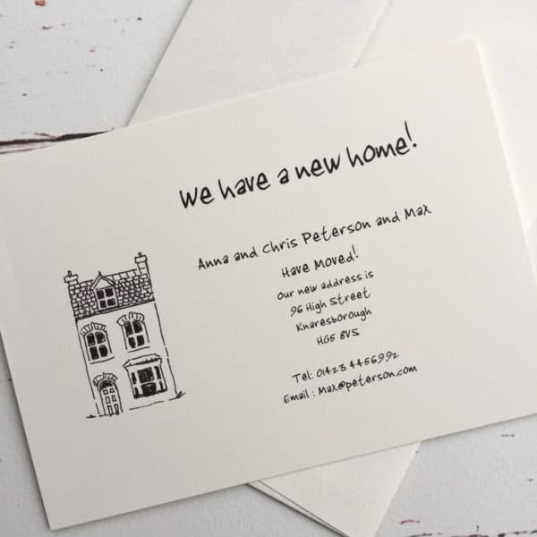 Change of address cards with a Town House illustration