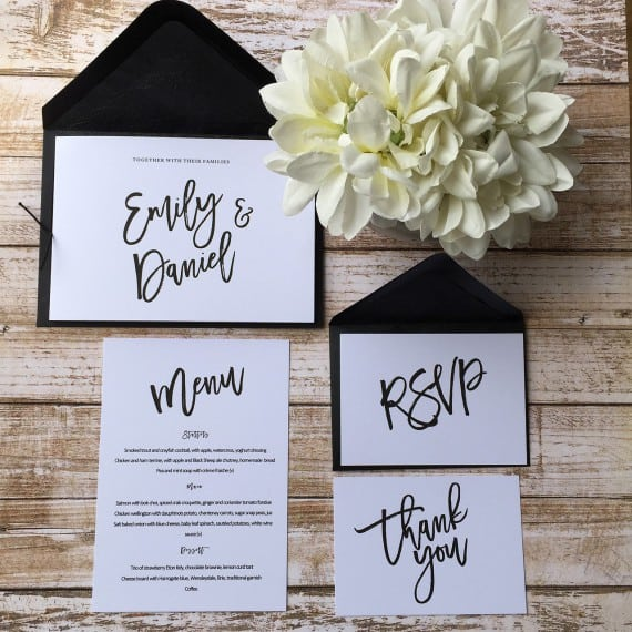 A modern freestyle wedding invitation