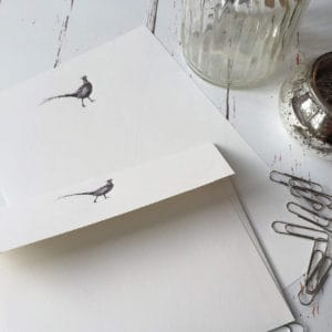 Writing paper with a Pheasant illustration