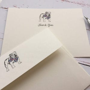 Thank you cards with a Bulldog illustration