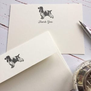 Thank you cards with a Cocker spaniel illustration