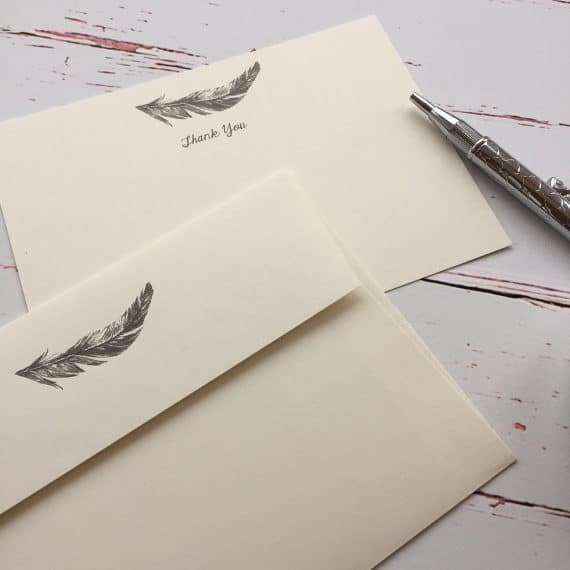 Thank you cards with a Feather illustration