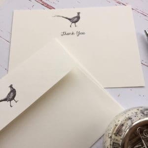 Thank you cards with a Pheasant illustration