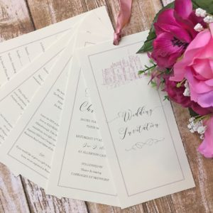 Wedding stationery with a ribbon